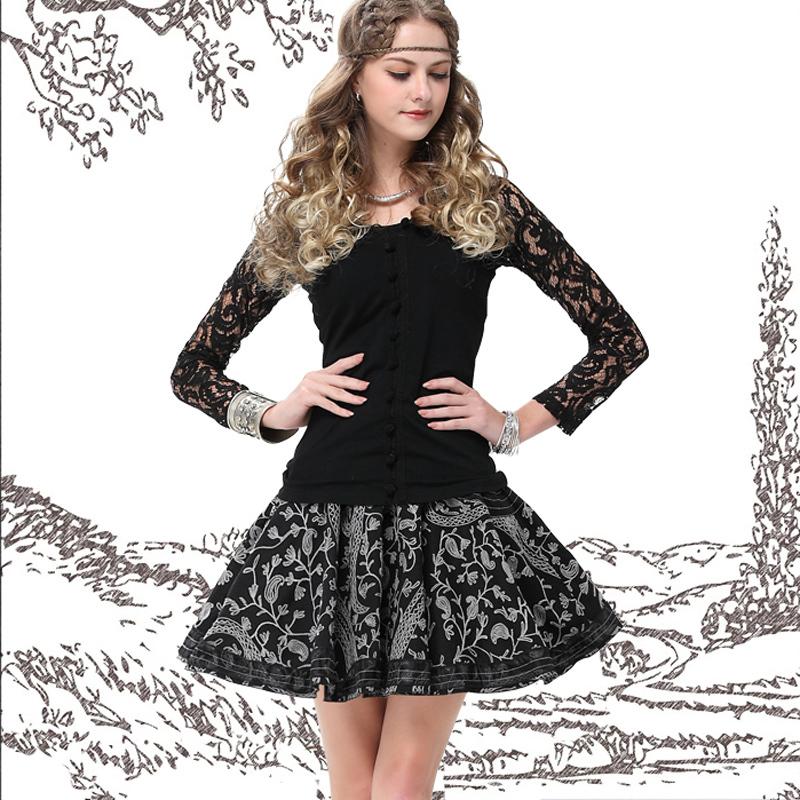2015 Yuzi New Vintage Women Black Lace Blouse Floral Crochet All-match Skinny Long Sleeve V-Neck Blouses B9505 Women's Clothing(China (Mainland))