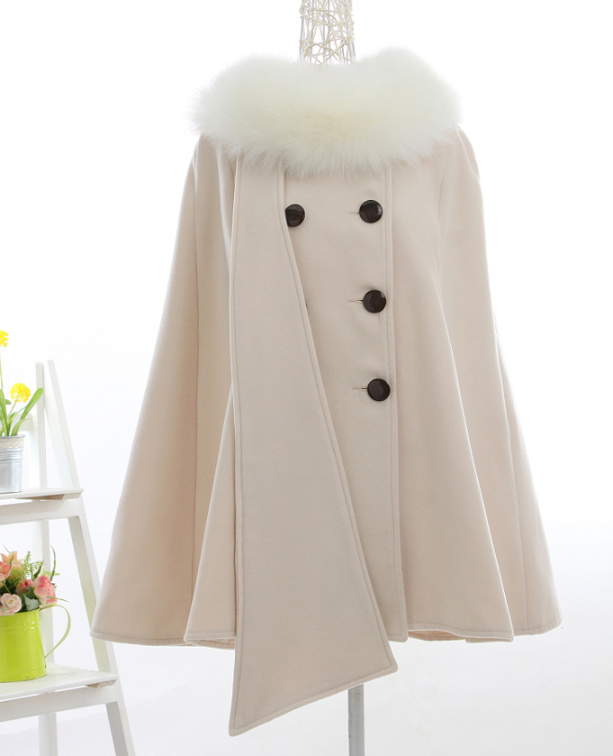 2015 New Fashion Women Woolen Overcoat Ponchos Winter Autumn Cape Poncho Batwing Cloak Coat Outerwear With Fur Collar DX408Одежда и ак�е��уары<br><br><br>Aliexpress