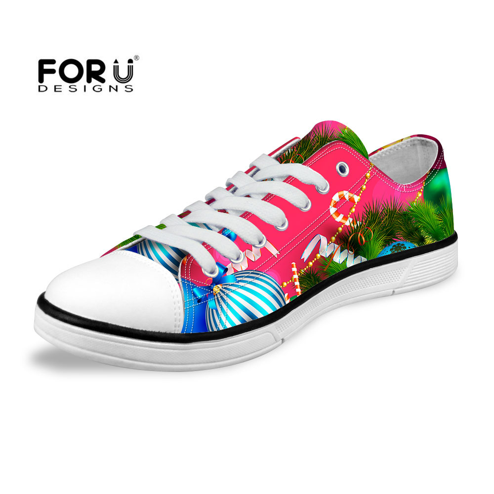 FORUDESIGNS New Fashion Christmas Printed Casual Women Shoes Low Top Canvas Shoes Comfortable Female Walking Trainer Flat Shoes(China (Mainland))
