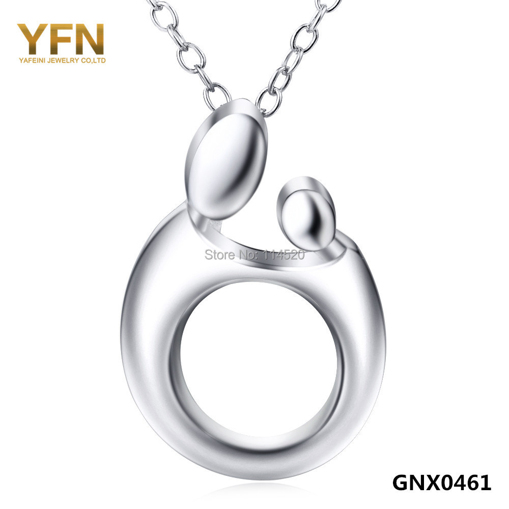 GNX0461 Genuine 925 Sterling Silver Jewelry Polished Pendant Necklace Mother Child Loving Family Necklace Holiday Sale(China (Mainland))