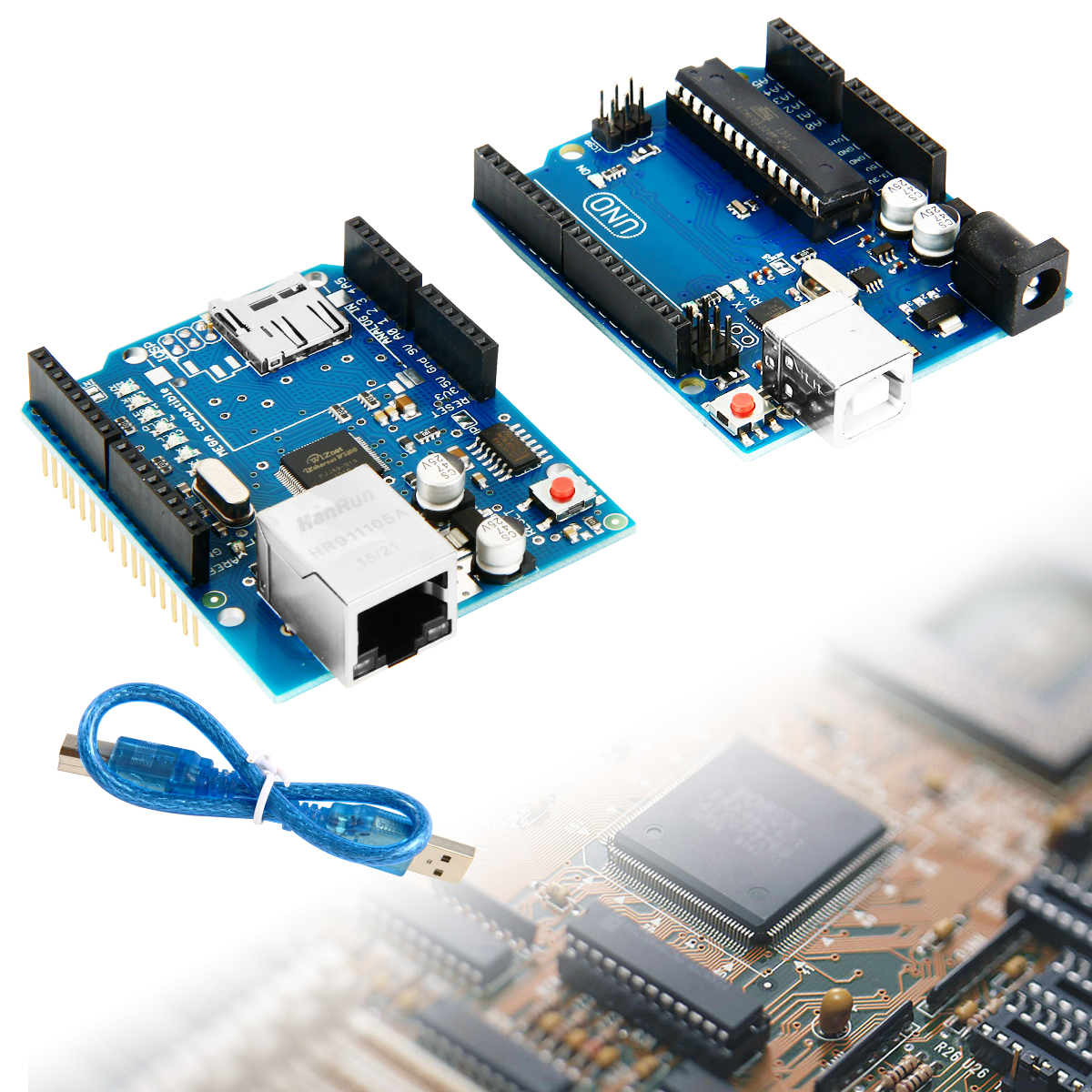 UNO R3 Board + Ethernet Shield W5100 Network Expansion Board For Arduino Mega 2560 TE366(China (Mainland))