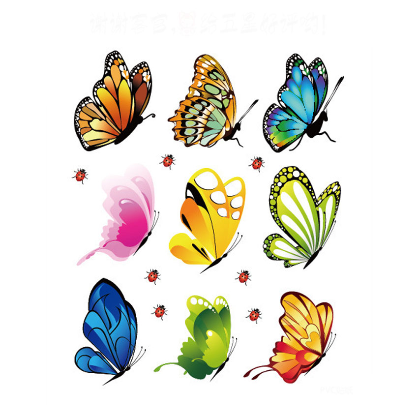 Diy home decor decals pvc mural butterfly plane wall for Deco mural stickers