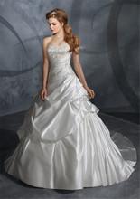 Vestido De Noiva 2015 Custom Made Appliques Beading Sequins White Ivory Satin A Line Wedding Dress