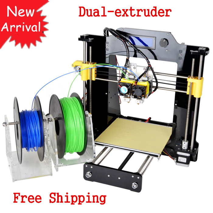 New Dual Extruder Borlee 3D Printer DIY Kit 60D Support 6 Materials impressora 3D Machine with LCD 2 Free Filaments FreeShipping(China (Mainland))