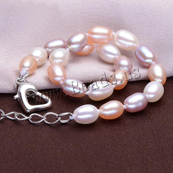 Free shipping!!!Freshwater Pearl Bracelet,new arrival, brass lobster clasp, with 5cm extender chain, Rice, natural