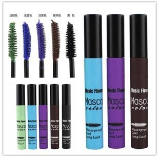 1pcs Unique Colorful Mascara smudge-proof Party Makeup Magic Eyelash Blue/Green/Purple/Coffee/Black(China (Mainland))
