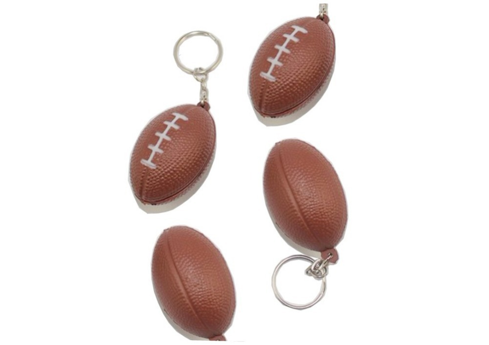 Soft PU Rugby Design Key Chains/Hanging Ornaments,Colorful Sports Keychain/Key Ring (5.5cm)--Free Shipping(China (Mainland))
