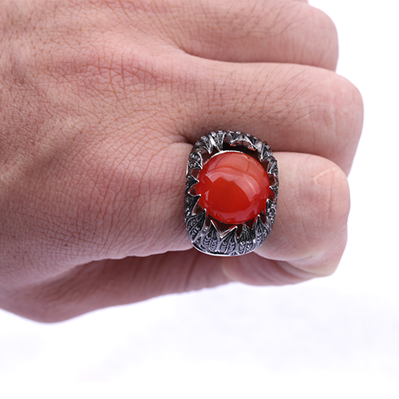 Latest Handmade Engraved Men Ring 925 Sterling Silver Stone Men's Ring Stone Red Gemstone Black Enamel Cool Men Jewelry