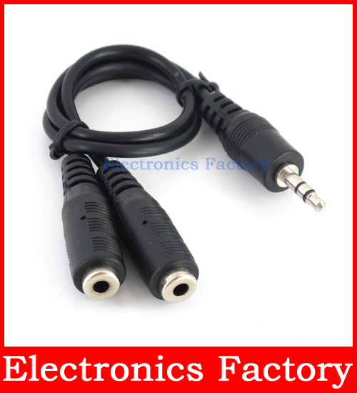 New 3.5mm Earphone Headphone headset Microphone Jack 1 Male To 2 Female Audio Splitter Adapter Connecter Cord Cable(China (Mainland))
