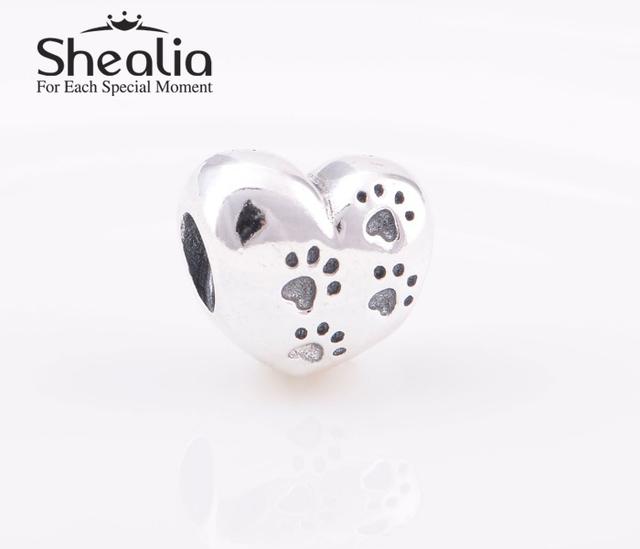 Shealia стерлингового серебра 925 мой сладкий Pet следы в форме сердца любовь прелести для женщин автор браслеты сделай сам ювелирное LW367