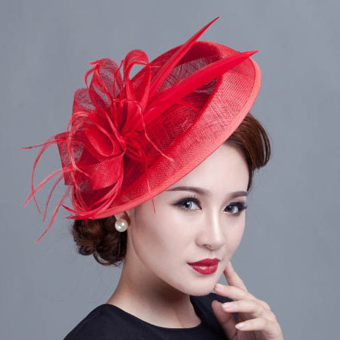 6 color large ivory feather sinamay hats hair