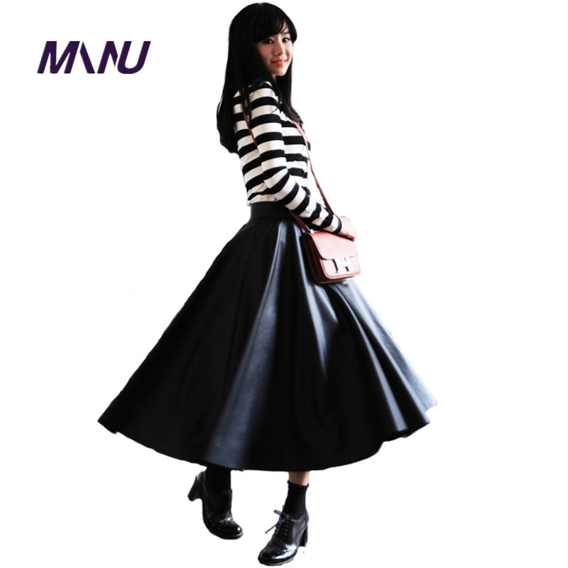 Popular Faux Leather Long Flared Skirt-Buy Cheap Faux Leather Long ...