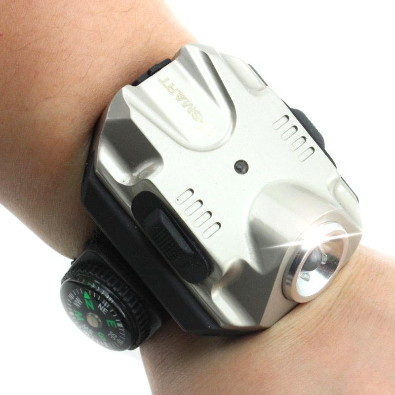 Free shipping Outdoor Night Riding Wrist Watch Shaped Lamp Mobile Wristband Wearing Fishing The strong light flashlight(China (Mainland))