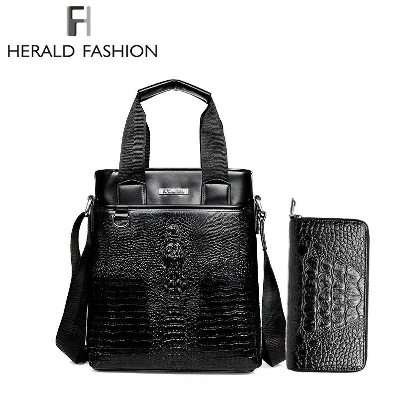 Men's Crocodile Alligator Leather Handbags Crossbody Bag Buy Handbag Get Wallet For Free Business Commuter Bag Long Wallet(China (Mainland))