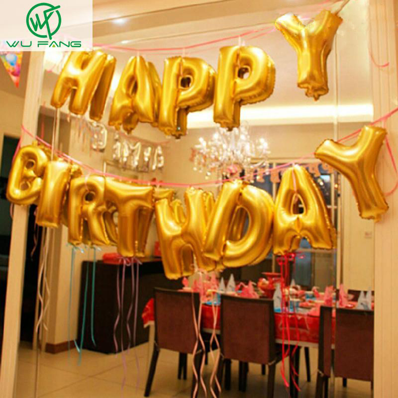 cute gold alphabet letters balloons happy birthday party decoration aluminum foil membrane ballon wholesaleschina