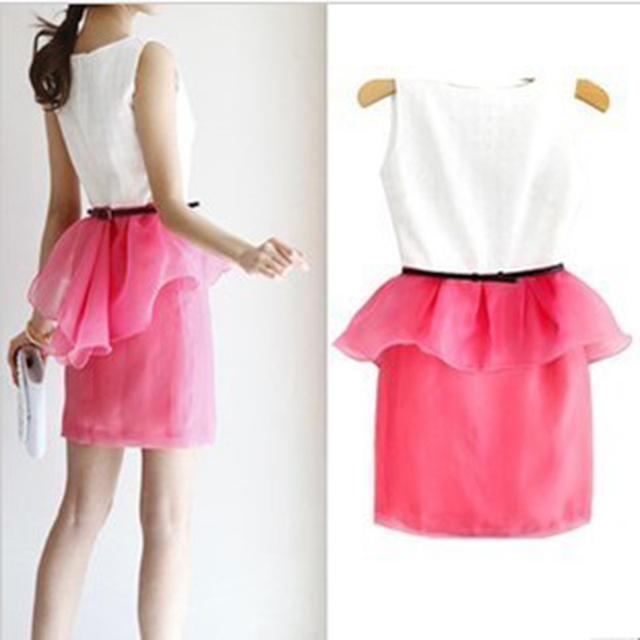 Luxury ladies elegant sweet princess ruffle color block decoration o-neck vest one-piece dress