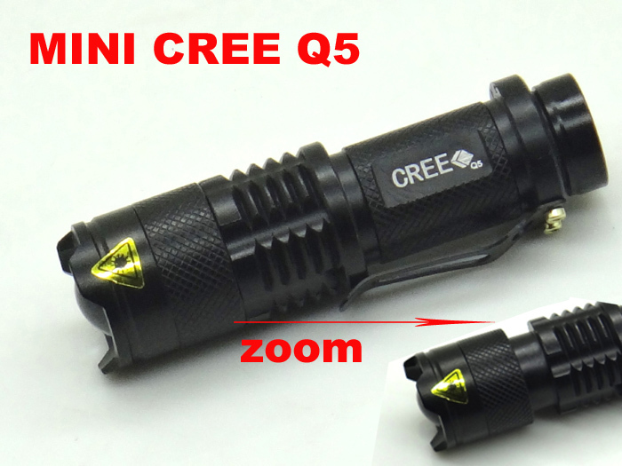 Mini ZOOMABLE 7W CREE Q5-XPE 2000lm ZOOM Tactical AA 14500 battery Flashlight Torch Lamp(China (Mainland))