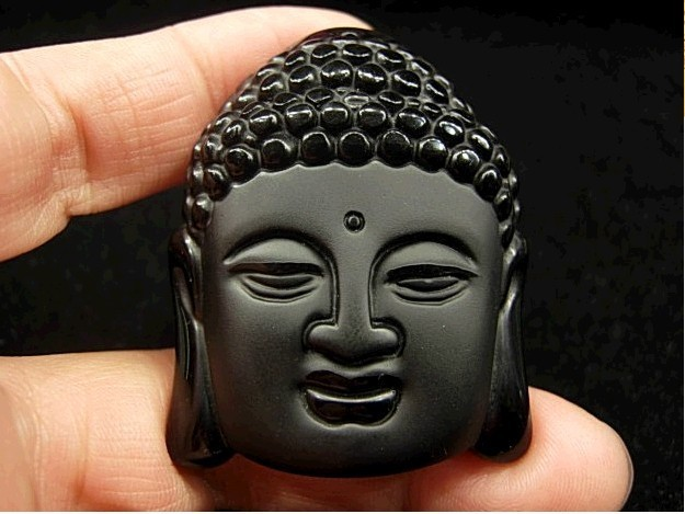 Hot Sale Natural Crystal Stone Obsidian Buddha Head Pendant Mean Male Fashion pendant wholesale price free shipping(China (Mainland))
