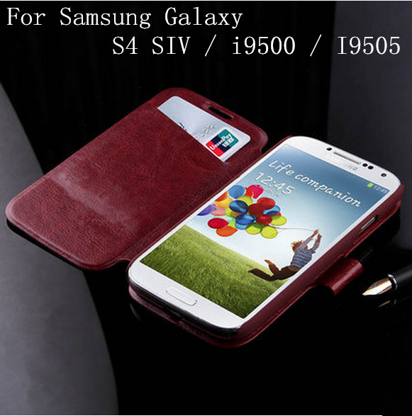 Feature-Oil PU Leather Wallet Luxury Flip Waterproof Mobile Phone Bags Cases for Samsung Galaxy S4 S IV i9500 I9505 Cover Case(China (Mainland))