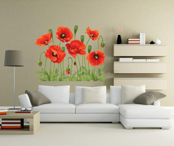 New 2015 diy wall sticker mural home art decor red poppy for Diy photo wall mural