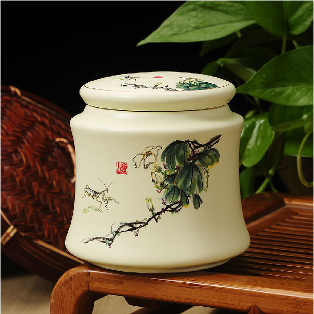 High-end The Ceramic Tea Canister Sealed Storage Bottle Ceramic Seal Tank Ceramic Pot Of Tea Accessories Free Shipping(China (Mainland))