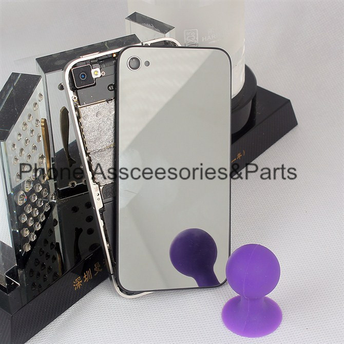 Silver Back Glass For iPhone 4 4s Mirror Back Glass Electroplate Gold Silver Back Housing for iPhone 4 4s Free Ship Free Tools(China (Mainland))
