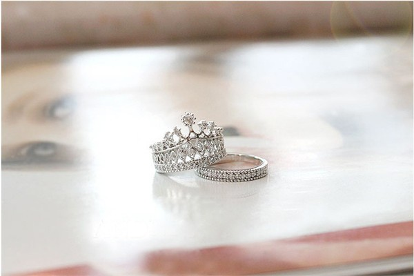 Crystal Rhinestone Crown Ring For Women Cute Elegant Luxury CZ Diamond Party Engagement Party Ring