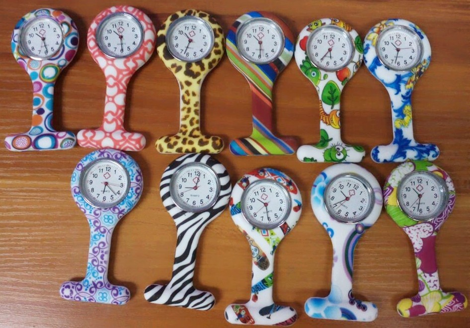 Wholesale 100pcs/lot Mix 13colors Nurses Doctor Fob Watch Brooches Silicone Leopard Tunic Batteries Medical Nurse Watch NW002<br><br>Aliexpress