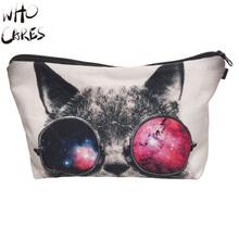 Who Cares Sunglasses Cat 3D Printing Necessaire Women Cosmetics Bags Travel Make up Bag Organizer Maleta de Maquiagem Makeup Bag(China (Mainland))