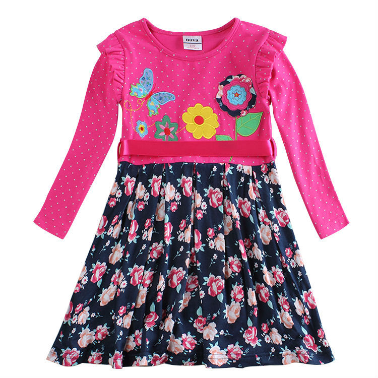 Девушка с длинным рукавом девушка ну вечеринку принцесса дети платье для девочек одежда мода novatx марка детской одежды хлопок платье