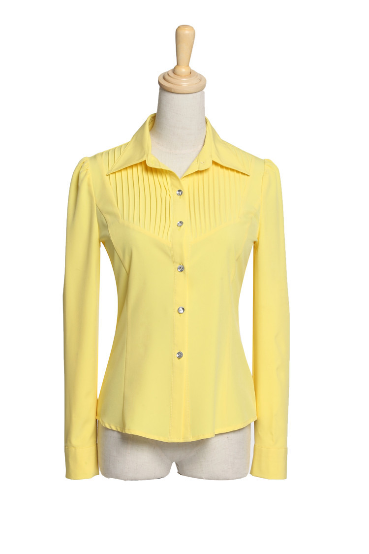 Womens yellow shirts blouses leopard trim blouse for Womens yellow long sleeve shirt
