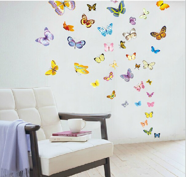 Large colorful butterflies grass wall sticker art mural for Large colorful wall art