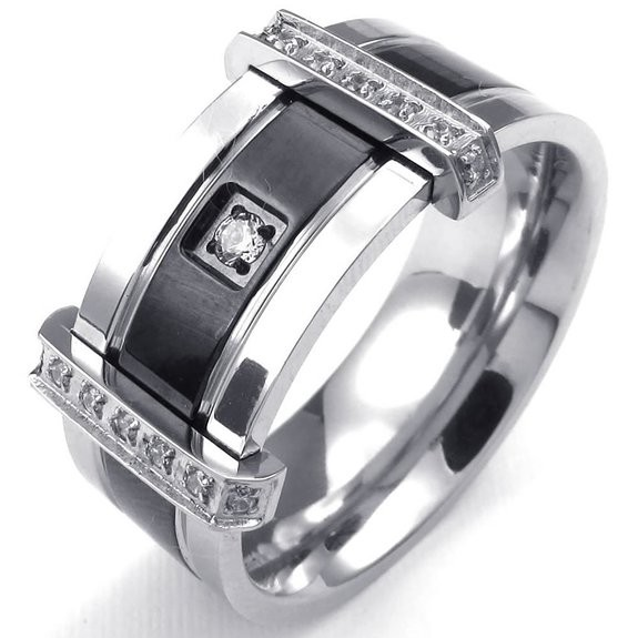 Mens Cubic Zirconia Stainless Steel Ring, Charm Elegant Wedding Band, Black&Silver Gold & Silver - Fine jewelry Chinese shop store