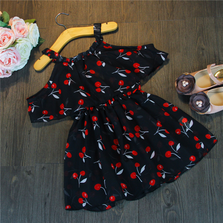 2016 Summer Baby Girls Off Shoulder Dress Kids Batwing Sleeve Dress With Cherry Pattern Cute Baby Girls Summer Wear 2-7yrs(China (Mainland))