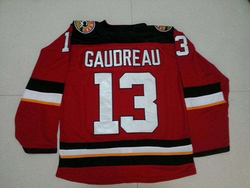 Men's cheap Calgary Flames ICE hockey Jersey stithced #13 Johnny Gaudreau 2016 Premier Alternate Red Jerseys(China (Mainland))