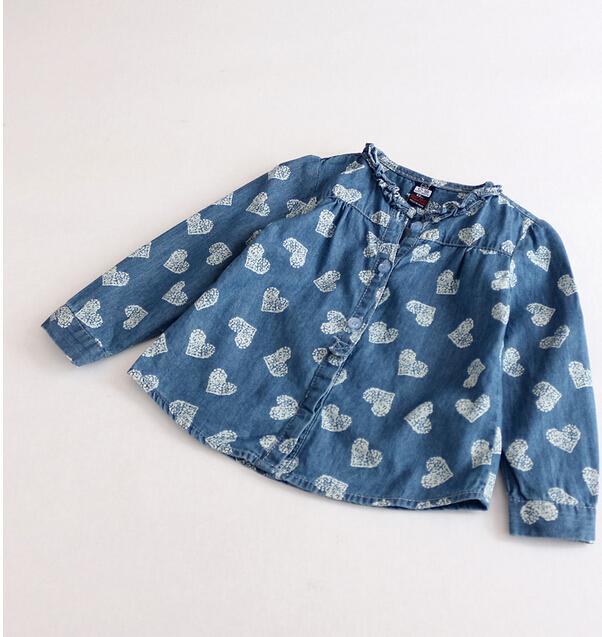 4111407-36 2015 Spring Girls Denim Blouses Printing Hearts O-Neck Full Sleeve Tops Children's Clothing Lot