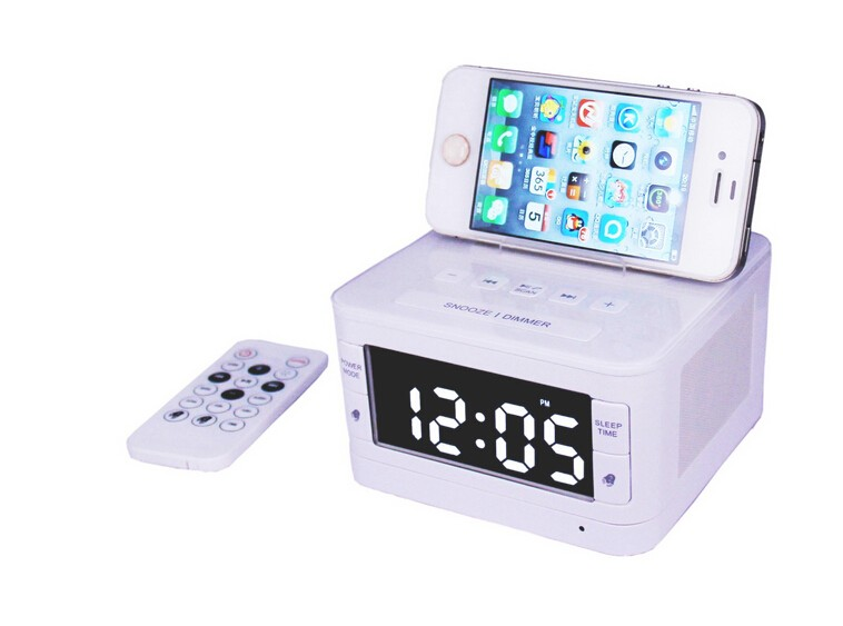 lcd digital fm dual alarm clock music dock charger station mini aux bluetooth. Black Bedroom Furniture Sets. Home Design Ideas
