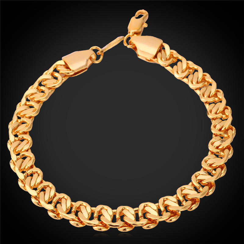 Men Jewelry Vintage Bracelet Men Accessories 18K Stamp 18K Real Gold Plated Fashion Jewelry Trendy 8MM 21CM Gold Bracelet H819(China (Mainland))