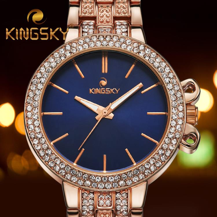 KINGSKY Brand Elegant Blue Dial Rose Gold Band Alloy Women Watch Gift Female Wristwatch Small Quartz Clock Bracelet Accessory(China (Mainland))