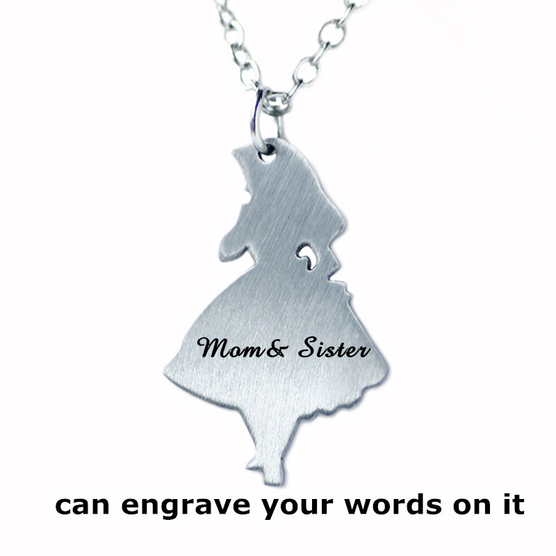 Custom Name Pendant Necklace Stainless Steel Jewelry,Can Engrave Text Ballet Girl Necklace ,Best Gift For Mom & Sister(China (Mainland))
