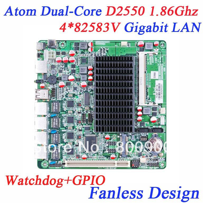 Firewall industrial fanless motherboard 4 Ethernet Lan ports soft route network motherboard Intel Atom Dual Core D2550 1.86Ghz(China (Mainland))