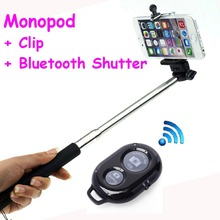 Extendable Self Selfie Stick Handheld Monopod+Clip Holder+Bluetooth Camera Shutter Remote Controller for iPhone Samsung Gopro