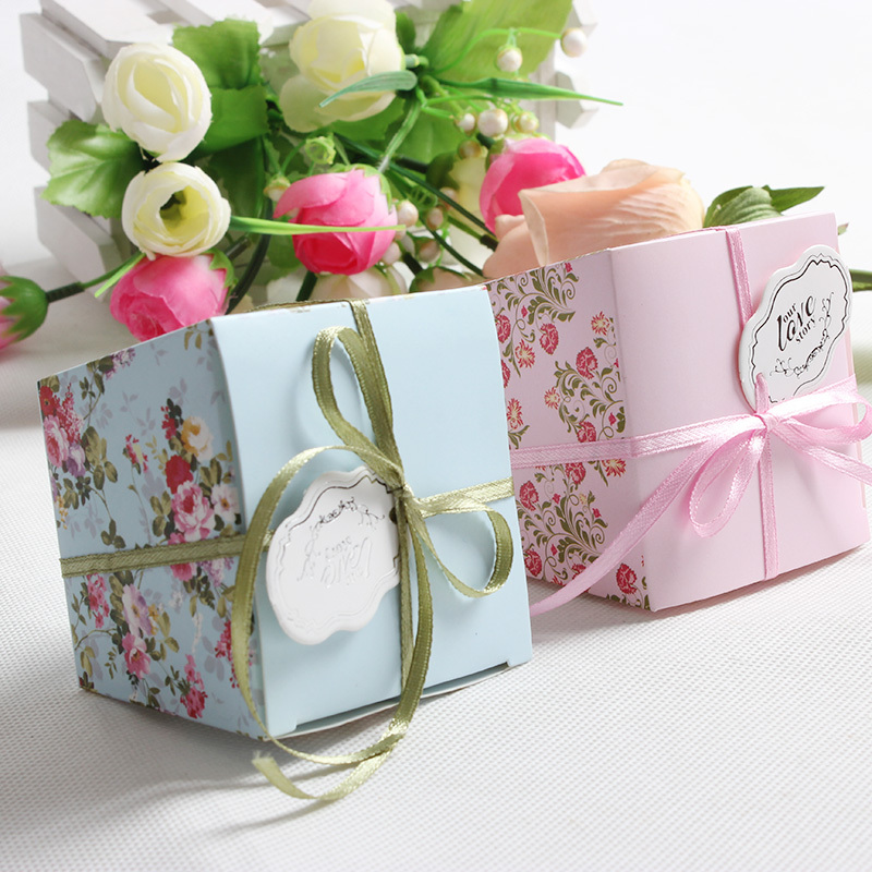 50pcs Floral Trapezoid Wedding Favor Boxes Wedding Candy