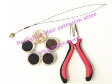 Free shipping 5000pcs Nano rings+1pcs three holes plier+1 pcs NanoRings hook needle for NanoRings hair extension tool kits