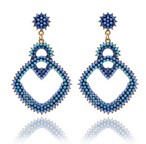European&US Fashion Jewelry 3 Colors Retro Earrings Bohemian Style Big Drop Crystal 2015 New - WELLWIN E-Shop store