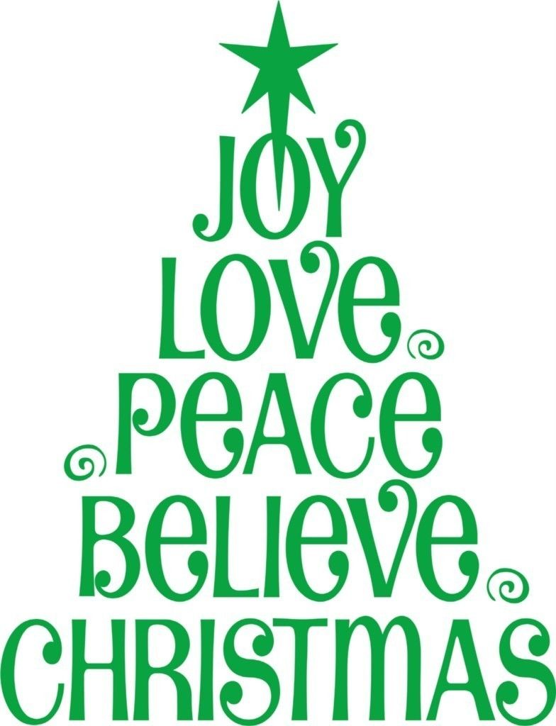 joy Love Peace Believe Christmas Tree Vinyl Wall Decal / Sticker Wall Stickers For Kids Room Baby Festival Wall Decals Mural Art(China (Mainland))