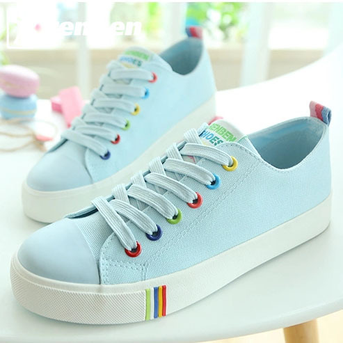 Canvas shoes female summer classic flat skateboard shoes small white shoes low breathable female lacing shoes