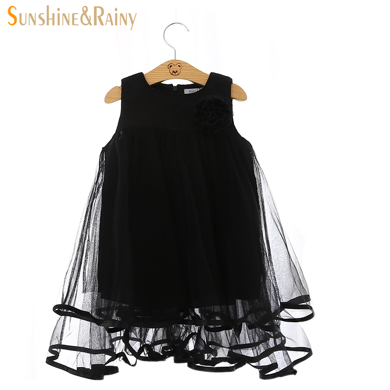 2016 Summer Girls Lace Dress Double Yarn Vest Sleeveless Dress With 3D Flower Lace Princess Dress Girls Mesh White&Black Color(China (Mainland))