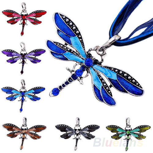 Fashion Dragonfly Charms Necklace With Chain Rhinestone Inlay Gemtone  01II(China (Mainland))