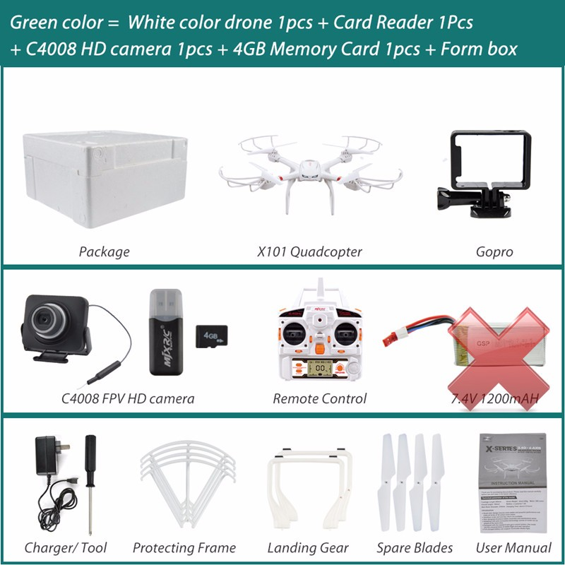 Profession Drones MJX X101 Quadcopter 2.4g 6-axis Rc Helicopter Drone with Gimble can Add C4018 FPV Wifi Camera Hd Vs X8c X8G
